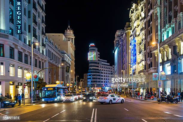 gran via madrid street center night horizontal vehicles bus car