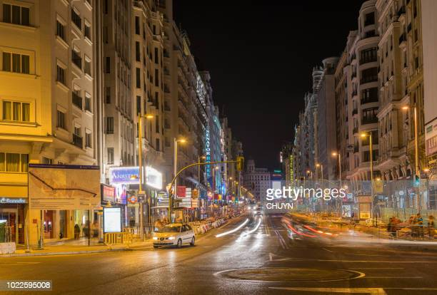 gran via nightlife - boulevard stock pictures, royalty-free photos & images