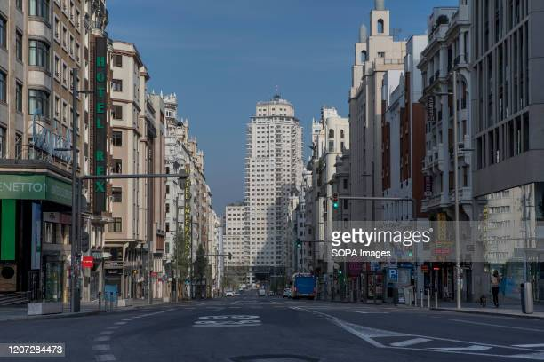 Gran Via Street empty during the corona virus lock down. Due to the state of emergency decreed by the Spanish government following the COVID-19...