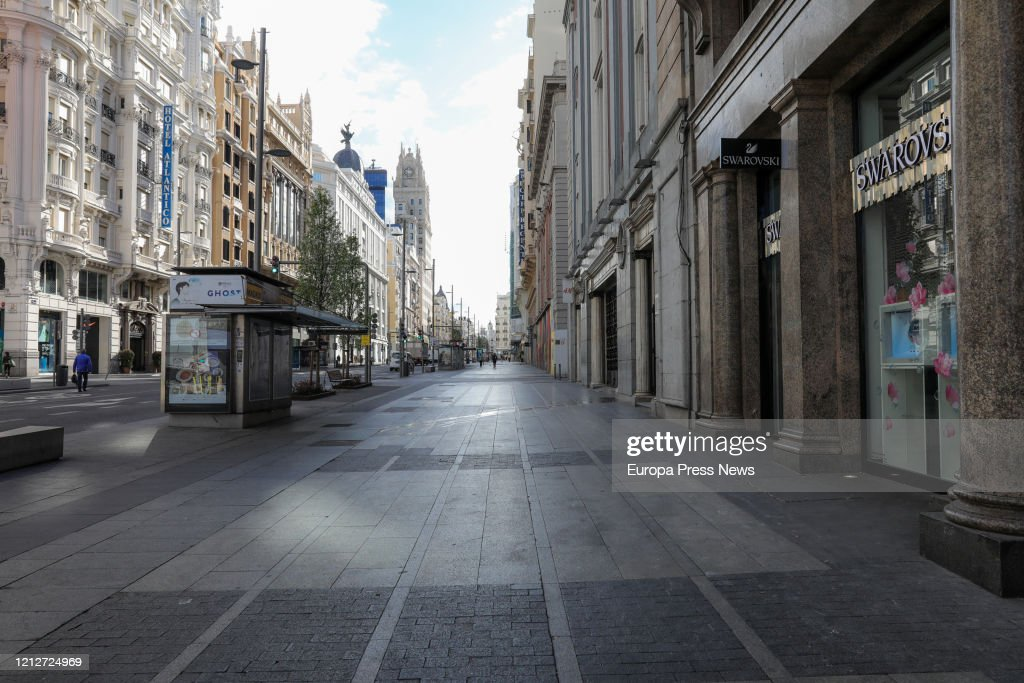 Personas mayores cuero varilla  Gran Via Street of Madrid is seen empty on the third day of the state...  News Photo - Getty Images
