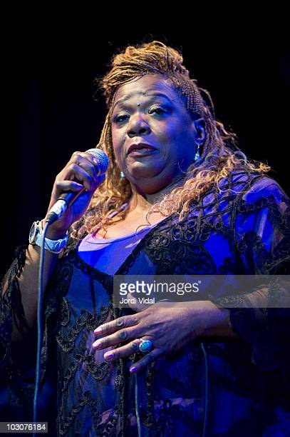 Grana Louise of Women of Chicago Blues show performs on stage during the third and final day of Cazorla Blues Festival at Plaza De Toros on July 24...
