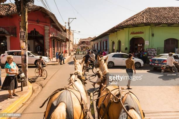 granada por carro de caballo - nicaragua fotografías e imágenes de stock