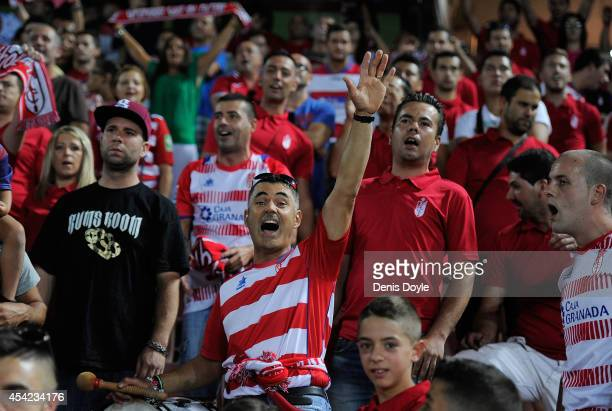 Granada CF fans cheer their team during the La liga match between Granada CF and RC Deportivo La Coruna at Estadio Nuevo Los Carmenes on August 23...