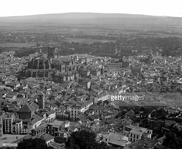 Granada Panoramic view of the cathedral taken of Alhambra About 1865