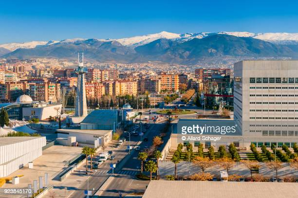 granada spain and sierra nevada mountains - granada spain landmark stock pictures, royalty-free photos & images