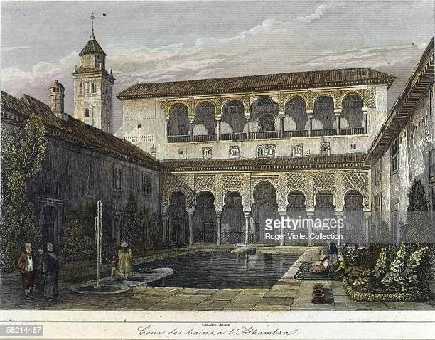 Granada The Alhambra The courtyard of Myrtles Engraving of Lemaitre