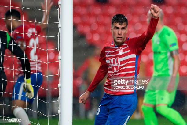 Granada's Spanish midfielder Alberto Soro celebrates after scoring a goal during the UEFA Europa League group E football match between Granada and...