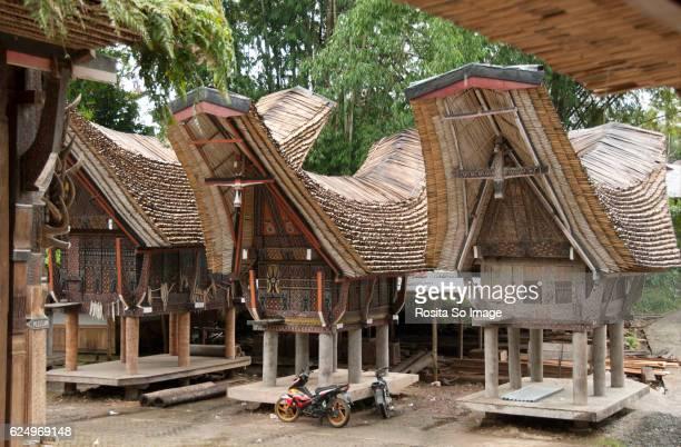 granaries at torajan village palawa, sulawesi, indonesia - rantepao stock photos and pictures