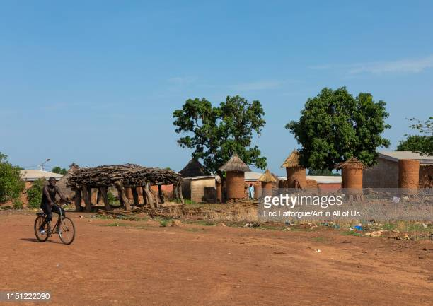 Granaries with thatched roofs in a Senufo village Savanes district Niofoin Ivory Coast on May 3 2019 in Niofoin Ivory Coast
