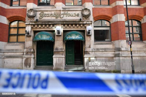 Granby House on Granby Row close to Manchester Piccadilly railway station in Manchester northwest England on May 26 following a May 24 raid on a...