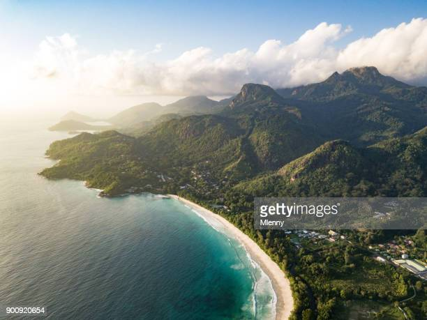 grand anse mahe island seychelles beach coastline - coastline stock pictures, royalty-free photos & images