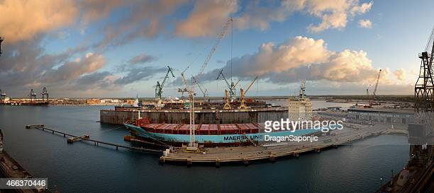 grand bahama shipyard - aerial view - freeport bahamas stock photos and pictures