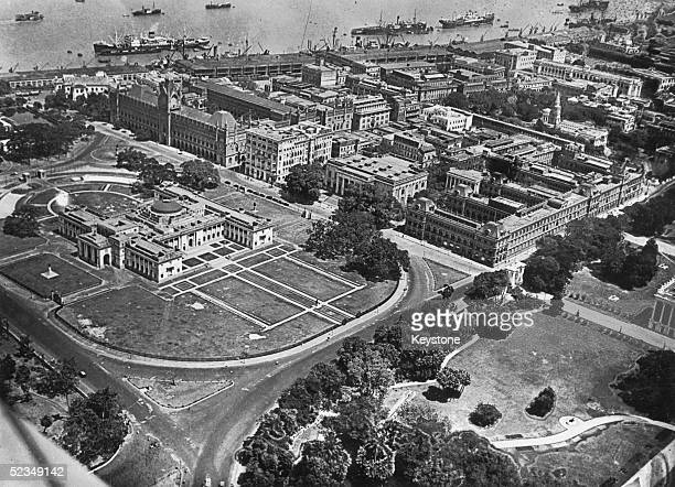 Grand buildings on the banks of the Hooghly River in Calcutta the capital of West Bengal in India circa 1930