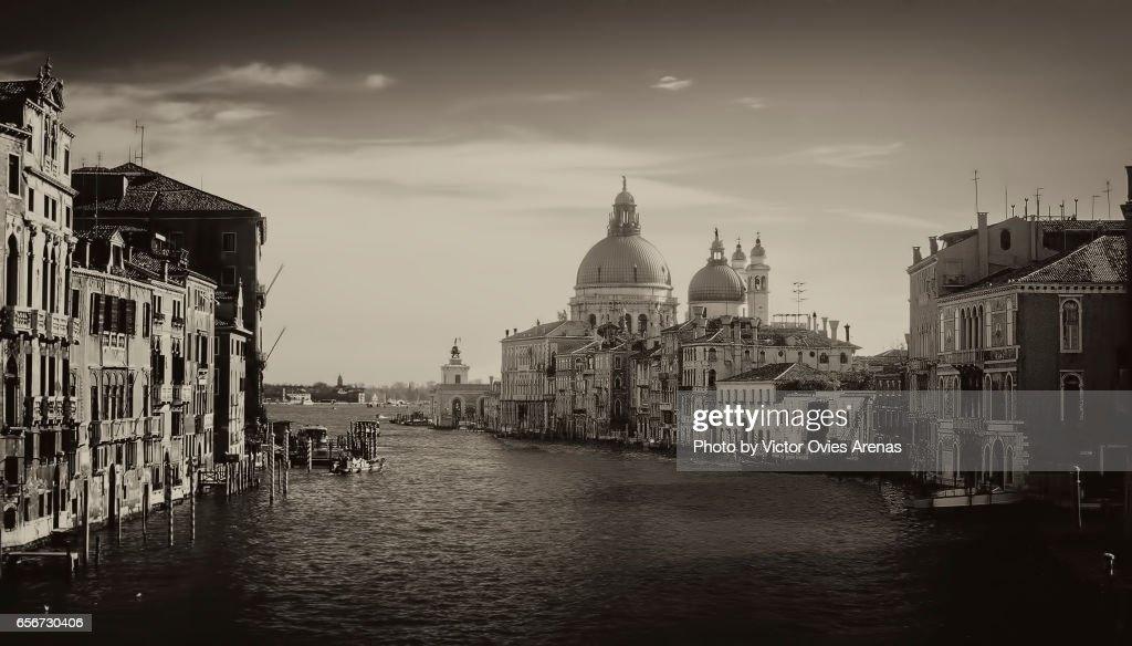 Grand Canal and Santa Maria della Salute Church from the Accademia Bridge in Venice, Italy : Stock Photo
