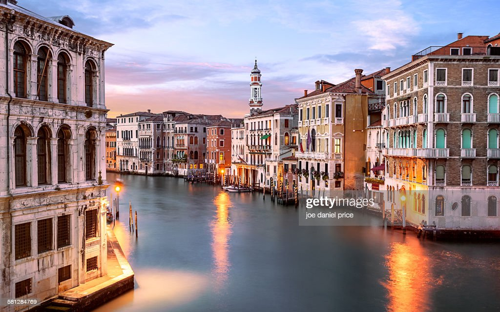 Grand Canal, Behind Rialto Bridge, Venice, Italy : Stock Photo