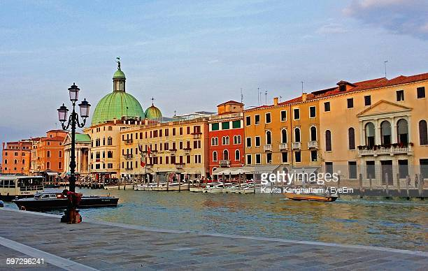 grand canal by san simeone piccolo in city against sky - simeone stock pictures, royalty-free photos & images