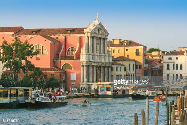 Grand Canal, Chiesa degli Scalzi and Tour boats, Venice, Italy.
