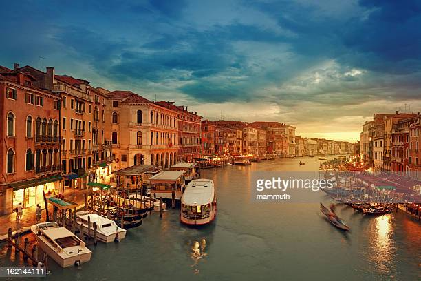 grand canal of venice after sunset - vaporetto stock photos and pictures