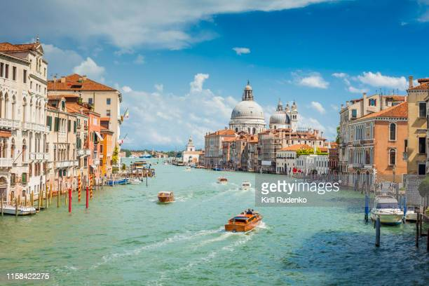 grand canal on a sunny summer day, venice, italy - canale grande venedig stock-fotos und bilder