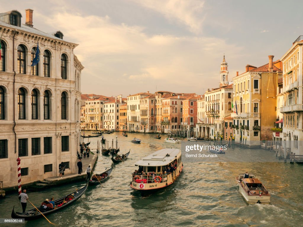 Grand Canal with Vaporetto and Water Taxi : Stock-Foto