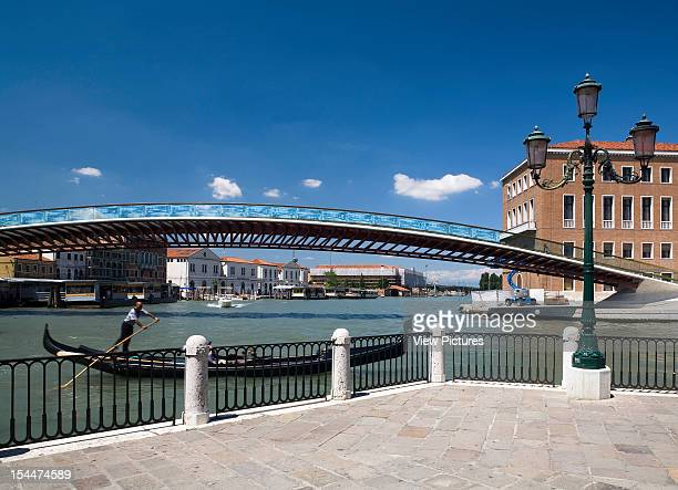 Grand CanalItaly Architect Venice Constitution Bridge Overview Of The Bridge With A Gondola And Venician Street Light