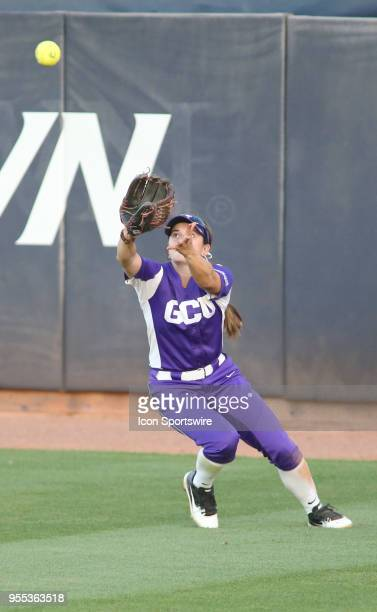 Grand Canyon Antelopes outfielder Laynee Gomez catches the ball during a college softball game between the Grand Canyon Antelopes and the Arizona...