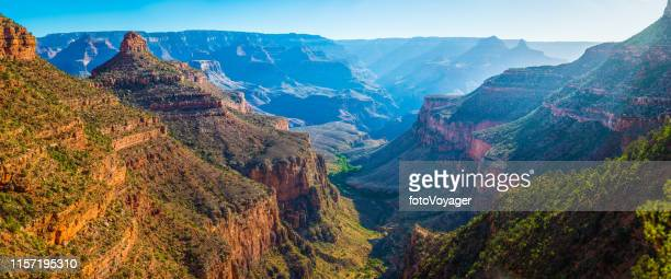 grand canyon bright angel trail indian garden plateau point panorama - grand canyon stock pictures, royalty-free photos & images