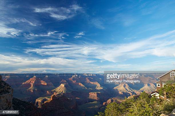 grand canyon from south rim  near the top of the bright angel trailhead in grand canyon village, nevada, usa - grand canyon village stock photos and pictures