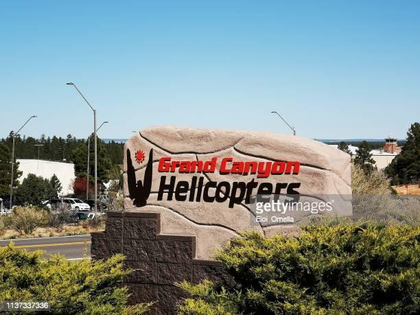 entrada de cartel de helicóptero del gran cañón, tusayan, arizona. e.e.u.u - gran cañon fotografías e imágenes de stock