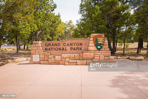 grand canyon national park entrance sign - entrance sign stock pictures, royalty-free photos & images