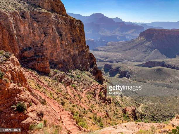 Grand Canyon National Park is seen from the South Kaibab Trail along the South Rim trailhead in Arizona United States on June 21 2019 The Grand...