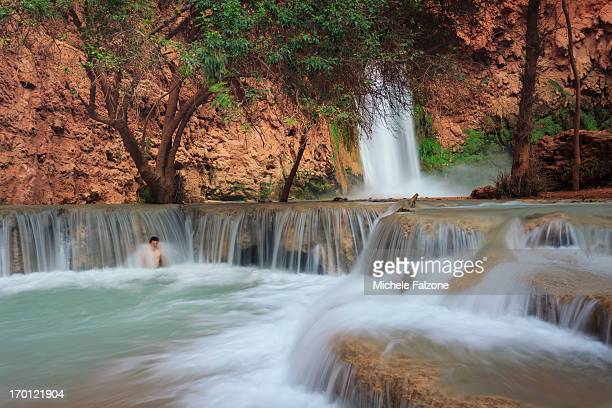 grand canyon national park - mooney falls stock photos and pictures