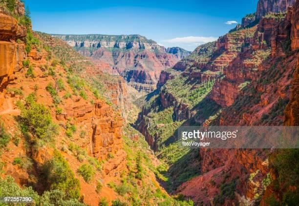 grand canyon north kaibab trail bridge below supai tunnel arizona - supai stock photos and pictures