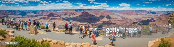 Grand Canyon panorama tourists at Hopi Point South Rim Arizona