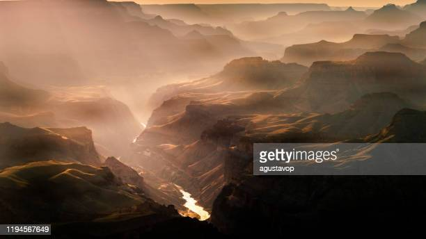 grand canyon south rim above colorado river at sunset – arizona, usa - canyon stock pictures, royalty-free photos & images