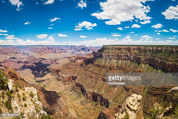Grand Canyon South Rim Bright Angel Trail fluffy clouds Arizona