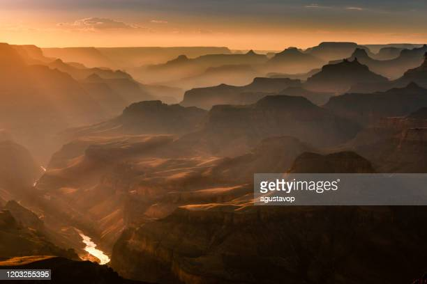 grand canyon south rim, colorado river at sunset – arizona, usa - wild west stock pictures, royalty-free photos & images