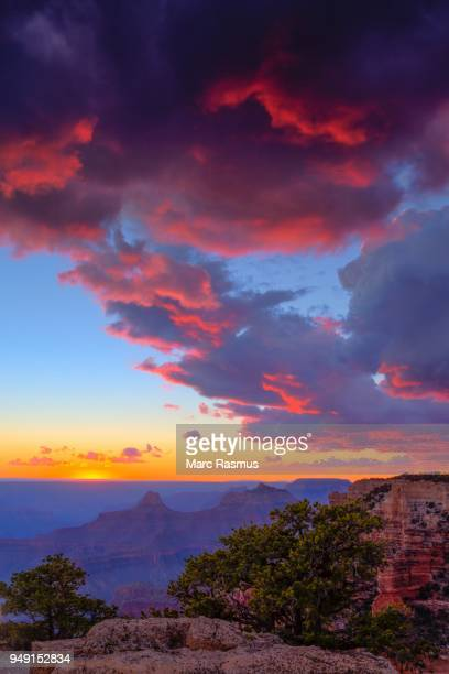 Grand Canyon, sunset, bright red clouds, North Rim, Grand Canyon National Park, Arizona, USA