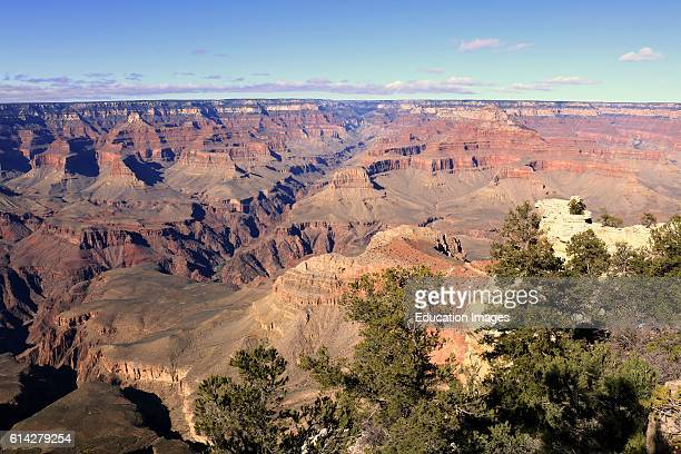 Grand Canyon viewed on a clear morning from South Rim Trail in Grand Canyon National Park Arizona
