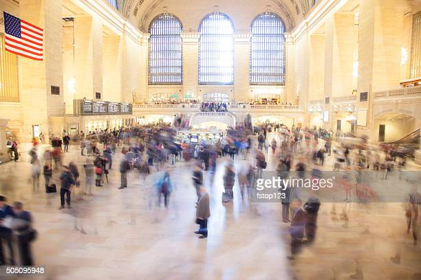Grand Central Station. New York City. Busy train station terminal.