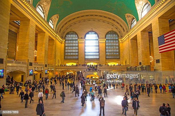 "Grand Central Station"" ""New York City"" Manhattan Midtown inside building construction architecture people person tourist connection train flas USA US..."