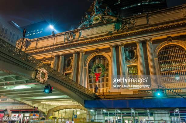 Grand Central Terminal exterior at night, Manhattan, New York City, USA