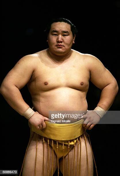 Grand Champion Yokozuna Asashoryu of Mongolia looks on during the Grand Sumo Championship on October 9 2005 at Mandalay Bay Events Center in Las...