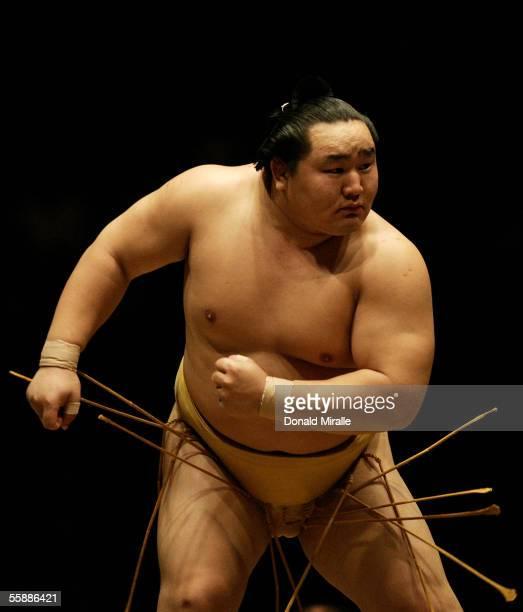 Grand Champion Yokozuna Asashoryu of Mongolia prepares himself for competition during the Grand Sumo Championship on October 9 2005 at Mandalay Bay...