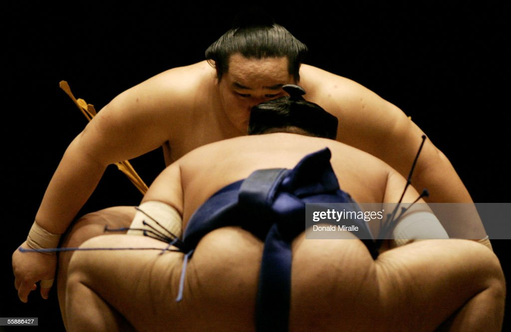 Grand Champion Yokozuna Asashoryu of Mongolia prepares himself for competition during the Grand Sumo Championship on October 9, 2005 at Mandalay Bay Events Center in Las Vegas, Nevada.