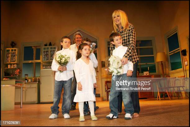 Justine Valentin Raphael and Michael Surprise birthday of Mireille Darc on the stage of the Marigny theater by Alain Delon at the end of the play Sur...