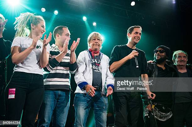 Grand Corps Malade and Renaud are greeting the audience at Le Trianon on June 17 2016 in Paris France