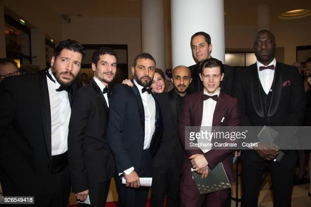 Grand Corps Malade and team arrive at the Cesar Film Awards 2018 at Salle Pleyel on March 2 2018 in Paris France