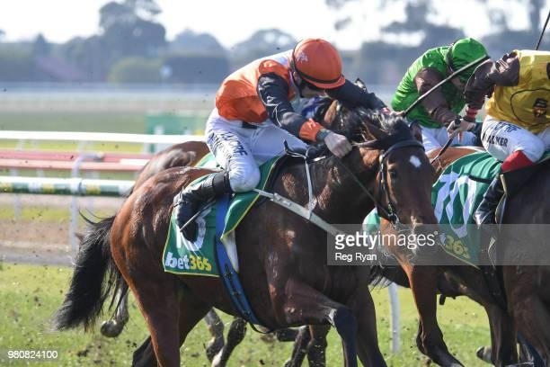Grand Crown ridden by Ben E Thompson wins the Bet 365 BM64 Handicap at Geelong Racecourse on June 22 2018 in Geelong Australia