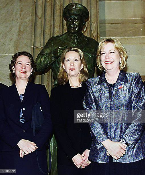 Grand daughters of former US President Dwight D Eisenhower Susan Eisenhower Anne Eisenhower and Mary Jean Eisenhower all stand in front of the newly...